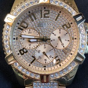 Men's Guess Gold tone Diamond Accent Watch.